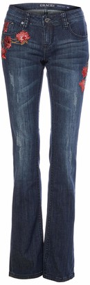 Grace in LA Women's Boho Embroidered Bootcut Jeans
