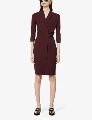 Reiss Luisa wrap-front stretch-knit dress