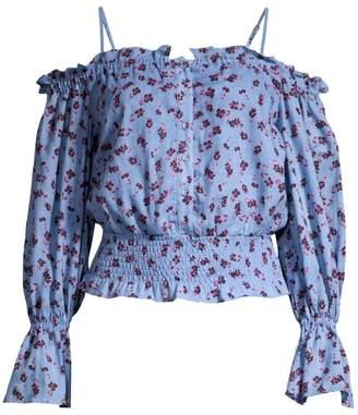 Parker Tori Cold Shoulder Smocked Waist Floral Blouse