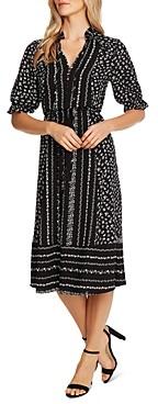 CeCe Ruffle-Sleeve Floral Print Dress