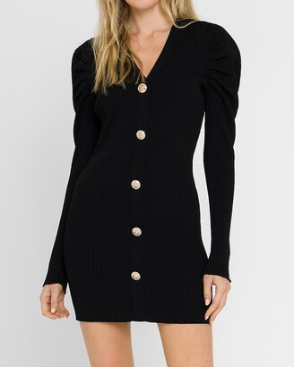 Express Endless Rose Long Sleeve Button Front Knit Mini Dress