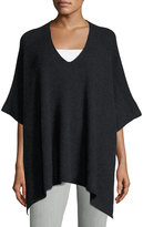Vince Cashmere Ribbed V-Neck Poncho, Heather Charcoal