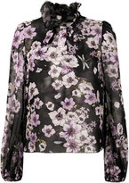 Giambattista Valli floral print ruffle neck blouse - women - Silk - 40