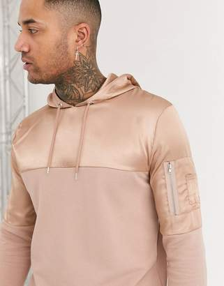 Asos Design DESIGN hoodie with satin cut & sew details in tonal beige-White