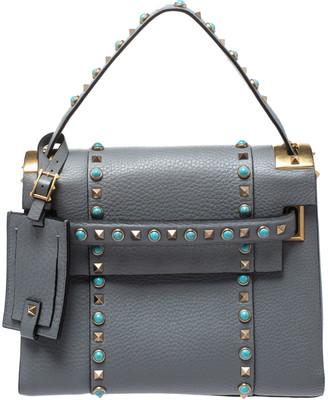Valentino Grey Leather Rockstud Rolling Top Handle Bag