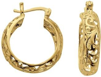 Primavera 24K Gold Over Sterling Silver Filigree Hoop Earrings