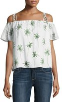 Milly Eden Off-the-Shoulder Palm Tree-Print Silk Top, Multi