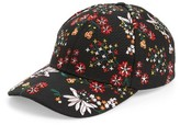 Topshop Women's Floral Embroidered Cap - Black