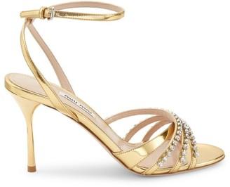 Miu Miu Jewelled Metallic Leather Sandals
