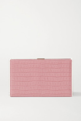 L'Afshar Delia Croc-effect Leather And Acrylic Clutch - Pink