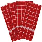 """DII 100% Cotton, Machine Washable, Basic Everyday, Terry, Kitchen Dishtowel, Ultra Absorbant, Windowpane Design, 16 x 26"""" Set of 4- Solid Red"""