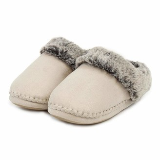 totes Women's's Ladies Suedette Fur Mule Slippers Open Back