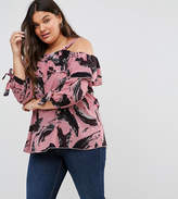 Koko Ruffle Double Layer Paint Brush Print Bardot Top