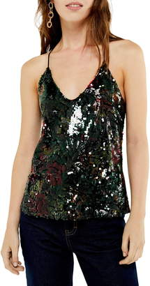 Topshop Dark Floral Sequin Camisole Top