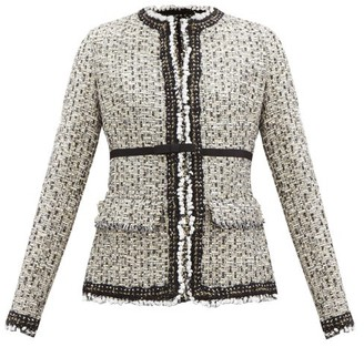 Giambattista Valli Velvet-trimmed Lame-tweed Jacket - White Multi