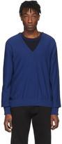 Maison Margiela Navy Spliced V-Neck Sweater