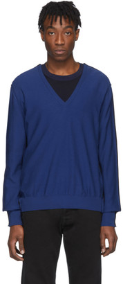 Maison Margiela Navy Spliced V-Neck Sweater