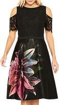Oasis Lily Cold Shoulder Skater Dress, Multi/Black