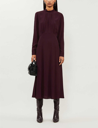 Whistles Ruby gathered crepe midi dress