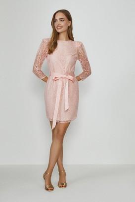 Coast Lace Tie Waist Long Sleeve Mini Dress