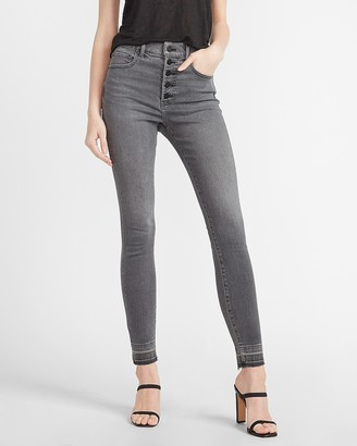 Express High Waisted Black Button Fly Skinny Jeans