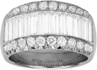 Platinum 2.58ct 3 Row Diamond Baguette Cut Eternity Ring - Size L