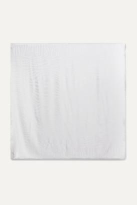 Loro Piana Fringed Silk-jacquard Scarf - Light gray