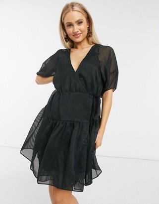Moon River puff sleeve organza mini dress