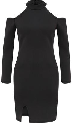 Kith & Kin Black Geometric Dress With Front Slit