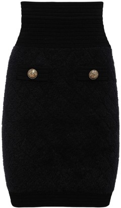 Balmain Diamond Knit High Waist Mini Skirt