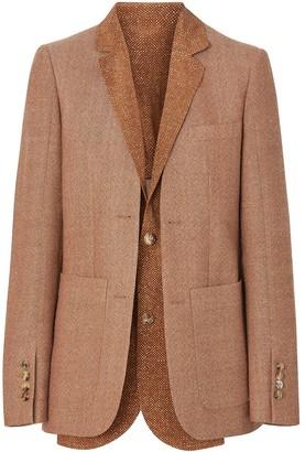 Burberry Fish-scale Print Bib Detail Wool Tailored Jacket