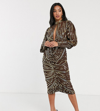 ASOS DESIGN Petite long sleeve key hole midi dress with wrap skirt