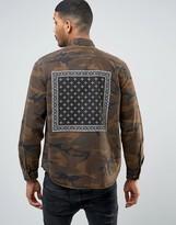 Asos Camo Overshirt With Bandana Back Print In Brown