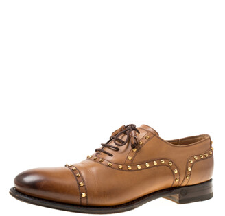 Gucci Brown Leather Studded Lace Up Oxfords 40.5