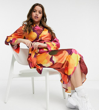 Never Fully Dressed Plus satin wrap midi dress in abstract paint stroke