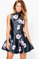 Boohoo Boutique Annora Floral Satin Skater Dress