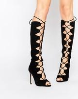 Aldo Ladosa Suede High Leg Lace Up Sandal Boots