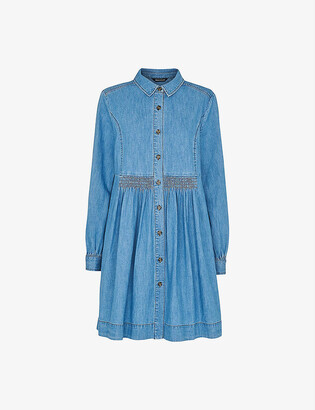 Whistles Chambray buttoned denim mini dress