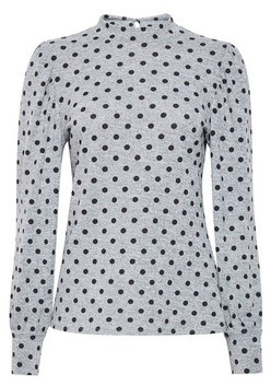 Dorothy Perkins Womens Grey Spot Print Puff Sleeve Jumper, Grey