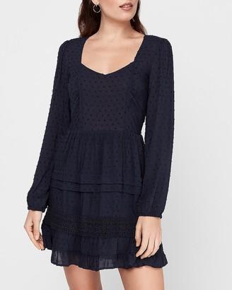 Express Clip Dot Tiered Lace Skirt Mini Dress