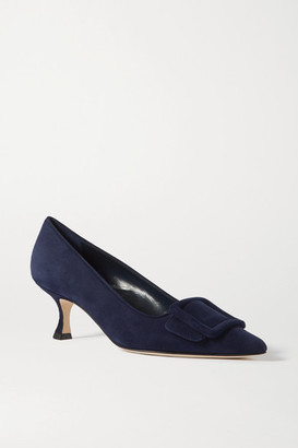 Manolo Blahnik Maysale Buckled Suede Pumps - Navy