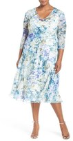 Komarov Plus Size Women's Print Three-Quarter Sleeve Chiffon A-Line Dress