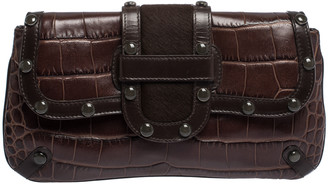 Escada Brown Croc Embossed Leather and Calfhair Clutch