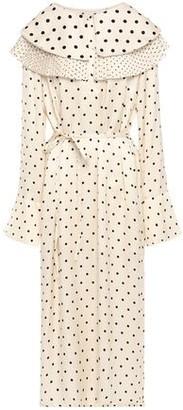 Mother of Pearl Layered Pleated Polka-dot Satin Midi Dress