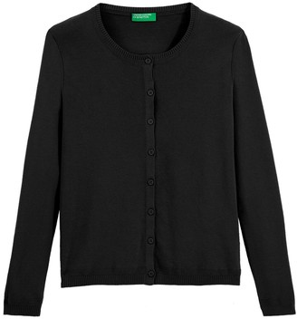 Benetton Cotton Buttoned Cardigan with Crew-Neck