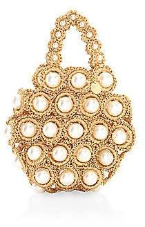 Alameda Turquesa Women's Hana Faux Pearl & Raffia Top Handle Bag