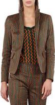 Akris Punto Single-Button Semicircle Stripe-Print Blazer