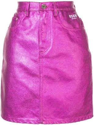 MSGM Metallic Denim Skirt