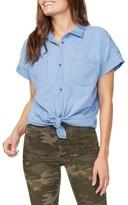 NYDJ Tie Front Chambray Short-Sleeve Shirt