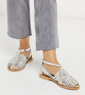 Asos DESIGN Wide Fit Viva leather woven flat shoes in silver and pale gold